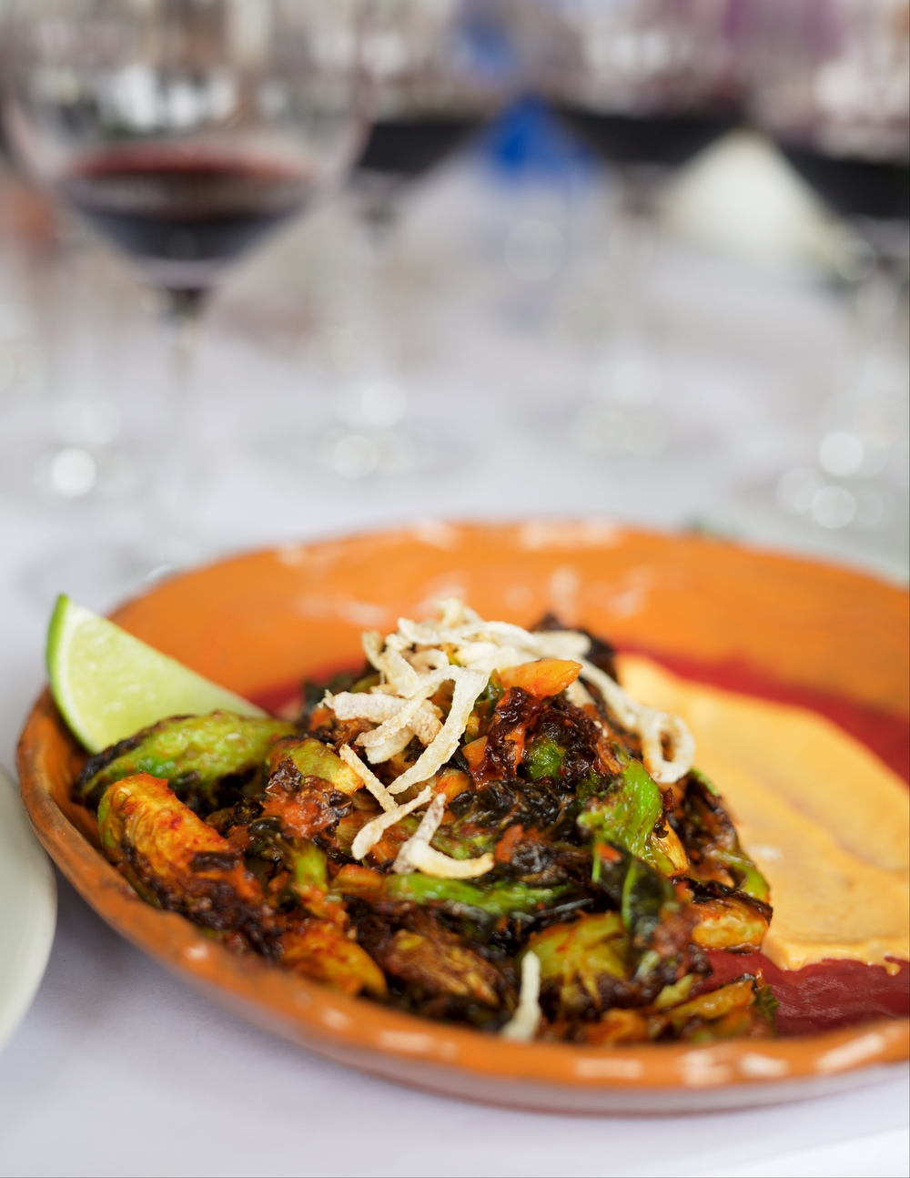 Cindy does Brussels sprouts like no other! The slightly spicy Asian flare paired wonderfully with our Sauvignon Blanc.