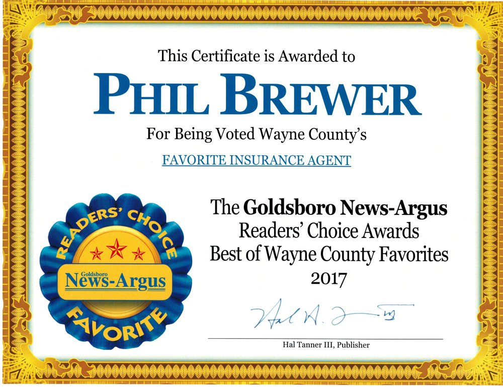 Goldsboro news-argus 2017 readers choice favorite insurance agent winner and Honorqable mention for insurance agency!