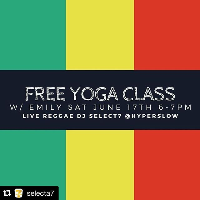 "This Saturday, June 17th! Free yoga class by @hyperslow & DJ @selecta7 at 6pm and Reggae Jam release party afterwards! RSVP to link in bio. Free general admission. You don't want to miss this!  #Repost @selecta7 ・・・ Come check me DJing for a Free Yoga Class This Saturday @hyperslow 6pm-7pm plus after Live Reggae from Noble Creatures and release party for @indiejamsla new Flavor! ""Reggae Jam"" cocktail party with #selecta7sound in the mix!  #Healthy #vegan #JamaicanFood from @oziskitchen located at: 487 S Fairfax Los Angeles  7pm-10pm #LAYoga #Yoga #FreeYoga #ReggaeYoga #LA"