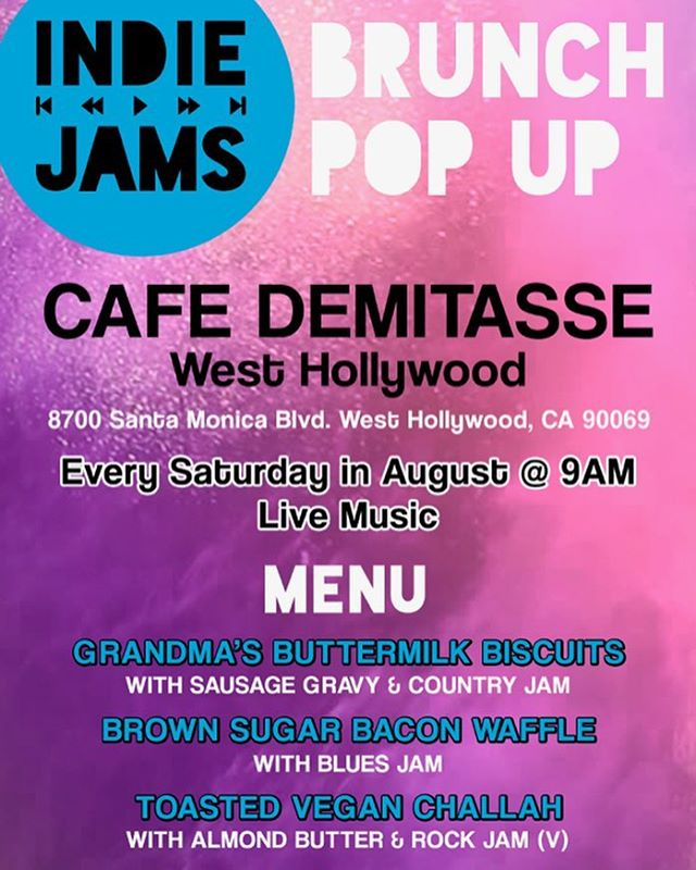 This Saturday, LA! Pop Up Brunch at @cafe_demitasse. Stop by for awesome coffee, food & music!! ☕️🍞🍑🎶