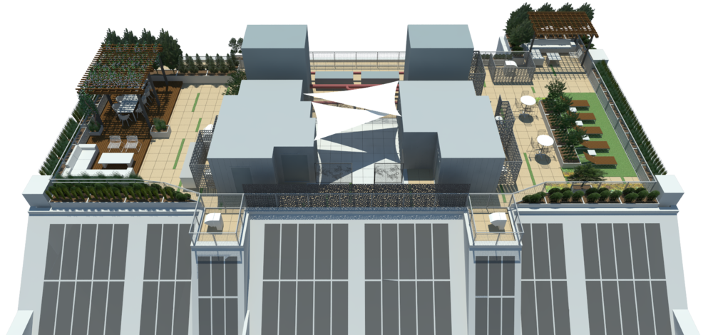 Initial aerial rendering based on the schematic design.