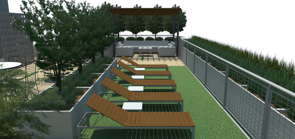 A pre-installation rendering of the lounge area.