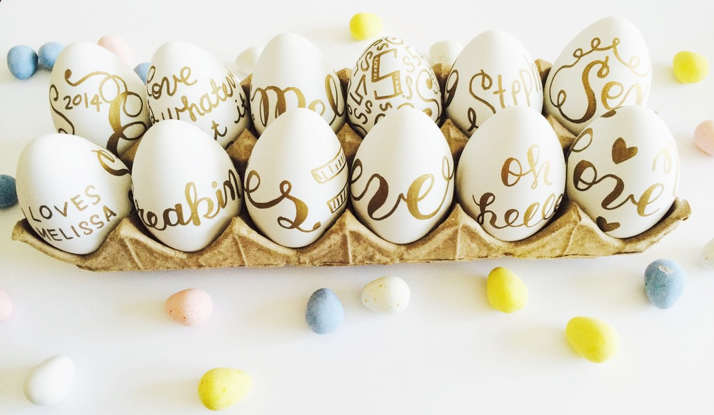 Gold Hand-lettered Easter Eggs
