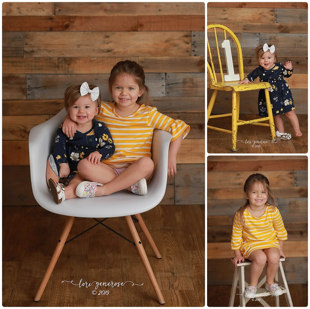Sisters Dawsyn (turning one) and Emerson! Love the pop of yellow 💛
