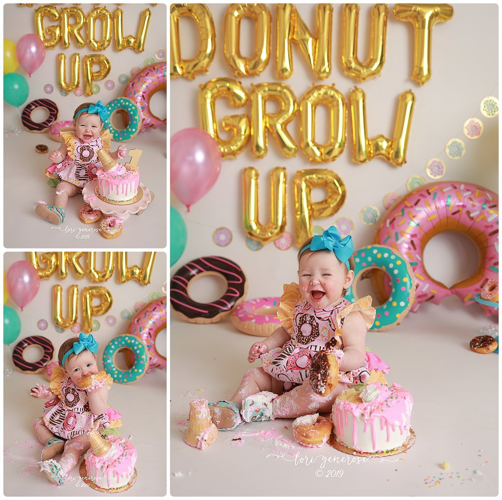 I don't know if I can handle this! Emma is absolutely amazing! Those  Freshly Picked  donut mocs are the icing on the cake... pun intended! Happy birthday sweet baby girl! 🍩