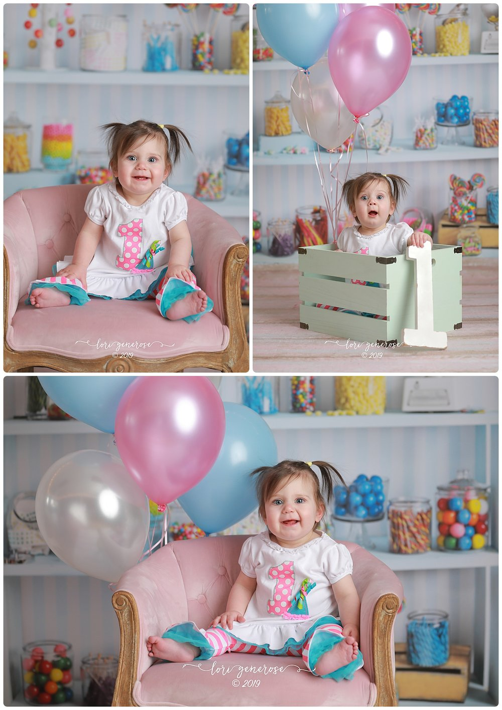 Her outfit worked perfectly with my candy shop backdrop- add some balloons and her sweet little face and PERFECTION! Sweet as sugar!
