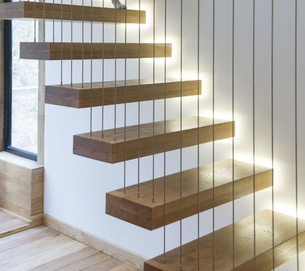 Amazing ... Impressive Timber Wooden Floating Staircase With Metal Cable  ...