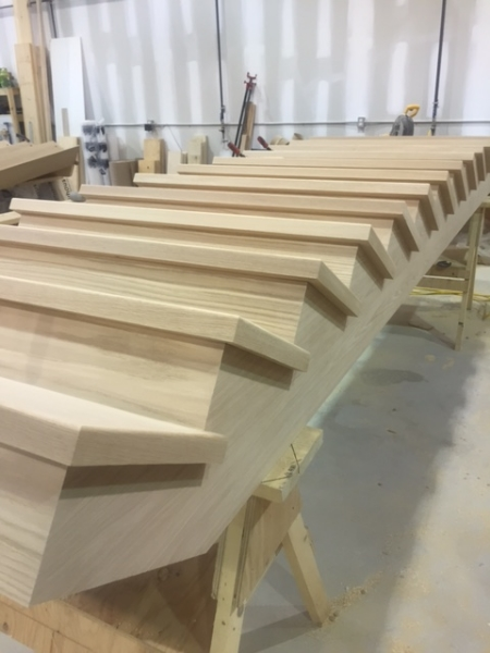 "Open 2 Sides, 1-3/4"" Oak Treads  Job Location: Lake Simcoe, Ontario"