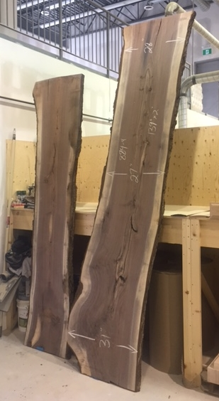 "2"" Live Edge Walnut Slabs  These are going to a customer who will be installing them as a bar top/counter.  Job Location: Snow Valley, Ontario"