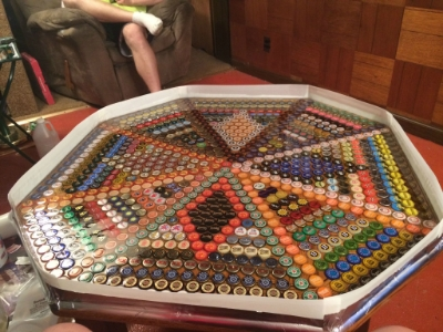 Beer Cap Table with Epoxy Finish