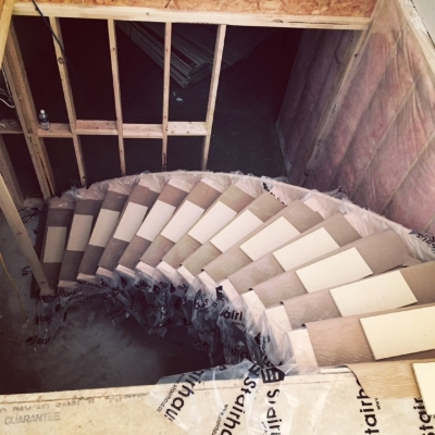 Oak Circular Stair  Job Location:  Stayner, Ontario