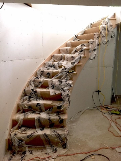 Open 1 Side Oak Circular Stair  Job Location:  Stayner, Ontario