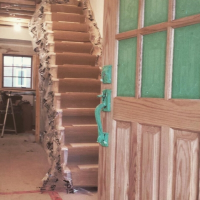 Open 1 Side Wormy Maple Stair  Job Location:  Toronto, Ontario