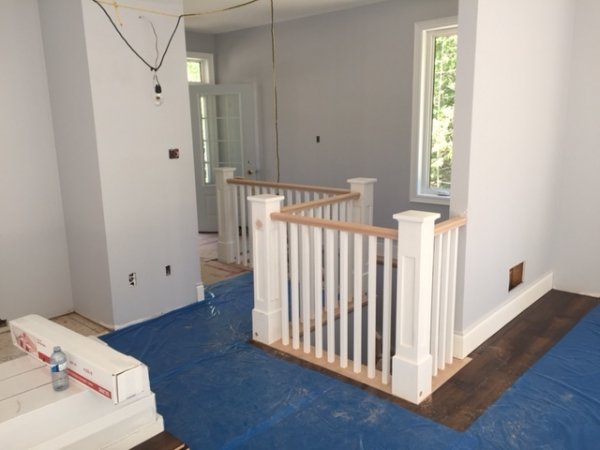 "4-1/2 Recessed Shaker Post with cap - Paint Grade, Standard Oak Railing, 1-5/16"" Square Paint Grade Spindles  Job Location: Wasaga Beach, On."