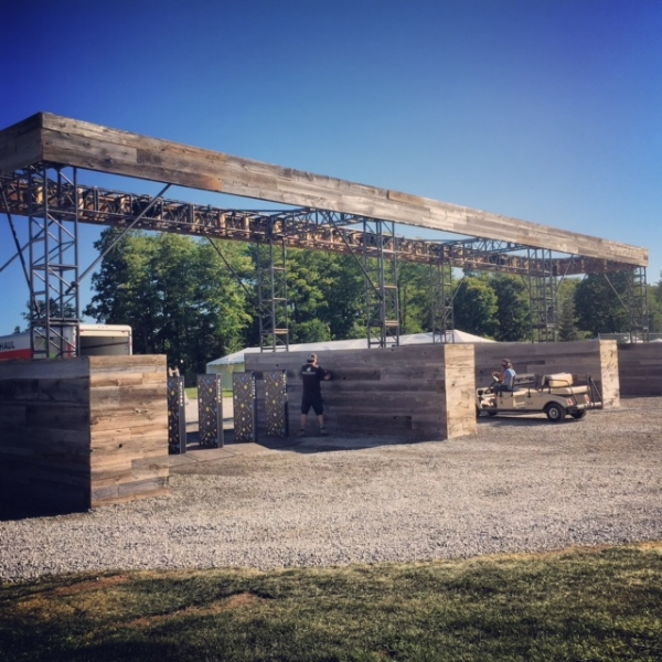 Way Home Festival  We clad and installed barn board on the the top support as well as built 6'x20' walls at the base to cover the concrete blocks.  Job Location:  Burls Creek, On.