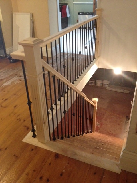 3-1/2 Fluted Pine Post with Cap, Standard Pine Railing, TL12-40 & TL130-1-40 steel spindles.  Job Location: Newmarket, ON