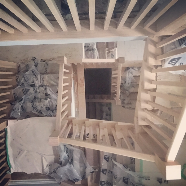 Self support landing built into stairs.  Open 1 side from 2nd floor to basement.  Job Location:  Horseshoe Valley, ON