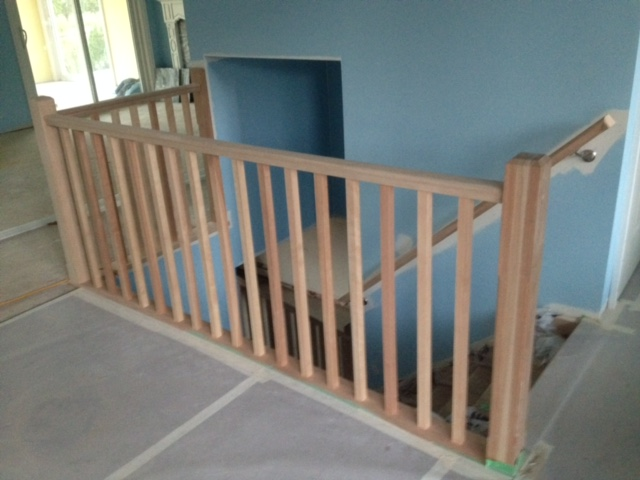 3-1/2 contemporary birch post, standard birch railing, 1-5/16 birch spindles. We hand made all of the materials for this project.  Job Location: Wasaga Beach, ON