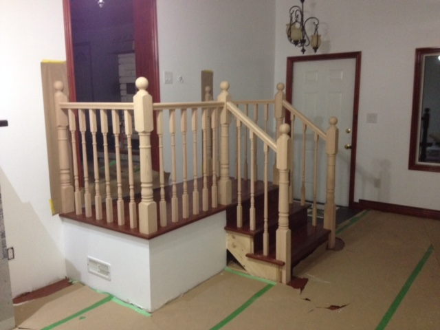 "3-1/2 Colonial Post, Standard Oak Railing, 1-5/16"" Colonial Spindles.  Job Location: Everett, ON"