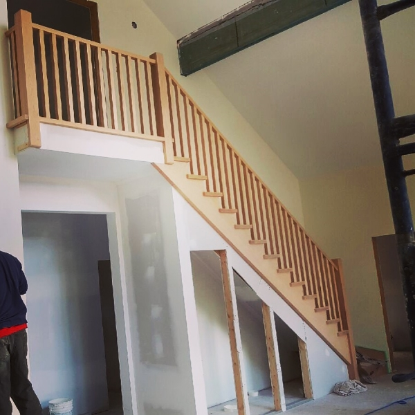 "4-1/2 Contemporary Oak Post, Standard Oak Railing, 1-3/4"" Square Oak Spindles (Upgrade)  Job Location: Bracebridge, ON"
