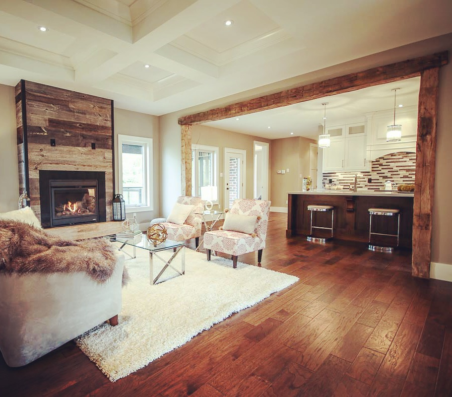 "Dendor Fine Homes - Model Home NOW OPEN!  www.dendorfinehomes.com   1"" Dressed Dressed Barn Board Feature Wall Around Fireplace Barn Beam Ledge around Fireplace Barn Beam Archway - chanelled to fit wall. Supply Only Job Location: Carson Ridge (Springwater), ON"