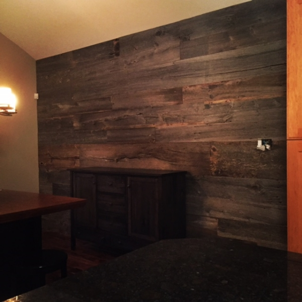 "1"" Dressed Barn Board Feature Wall Supply & Installed Job Location: Anten Mills, ON"