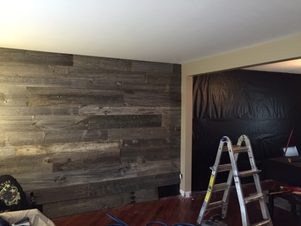 Step #2  Install barn board working your way from the top to the bottom.