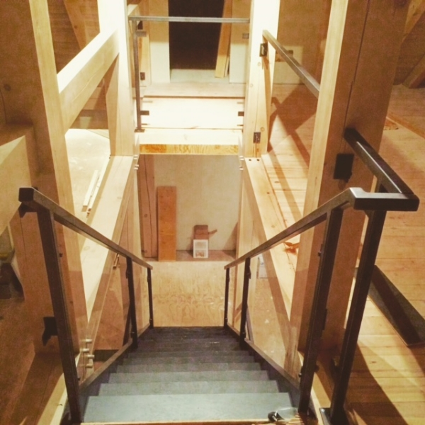 We supplied & installed the stairs and railings in this house. The railing is a custom fabricated steel railing which will have glass panels installed. The stairs are white oak open rise with 1-3/4 solid treads.  Job Location: Blue Mountain, ON