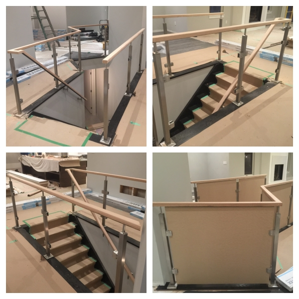 We supplied & installed the railing/posts/stairs and nosing for this contemporary project. The posts, glass clips and railing brackets come from Bezdan - it is their Q-Line (square) series. The MDF panels were cut and installed so this customer can get their occupancy while the glass is on order.  Job Location: Oro Medonte, ON