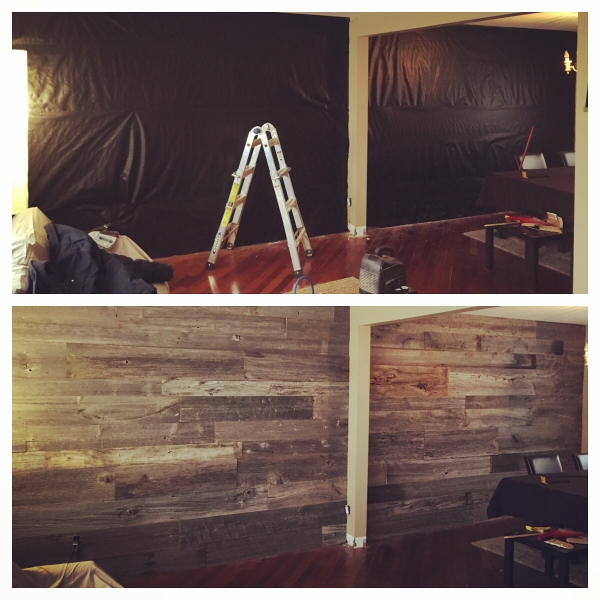 "Before/After photo of a 1"" grey board feature wall. We supplied & installed this project.  Job Location: Toronto, ON"