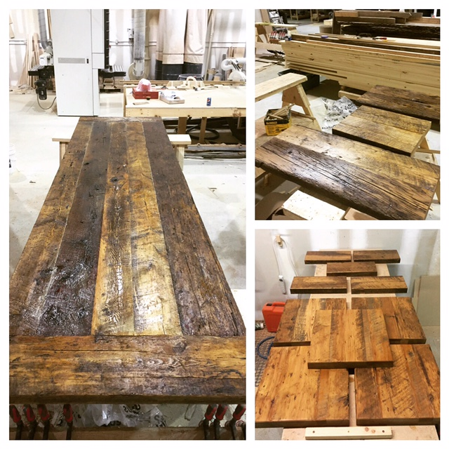 "Left - 38""x144"" hemlock harvest table with bread boards Top Right - reclaimed hemlock shelves Bottom Right - reclaimed hemlock seats/backs for custom fabricated steel bar stools"