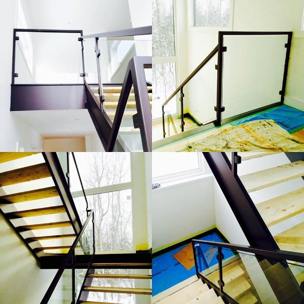 Contemporary tubular steel railing fabricated to tie in with the steel open rise stairs we installed before Christmas.  Job location: Blue Mountain, ON