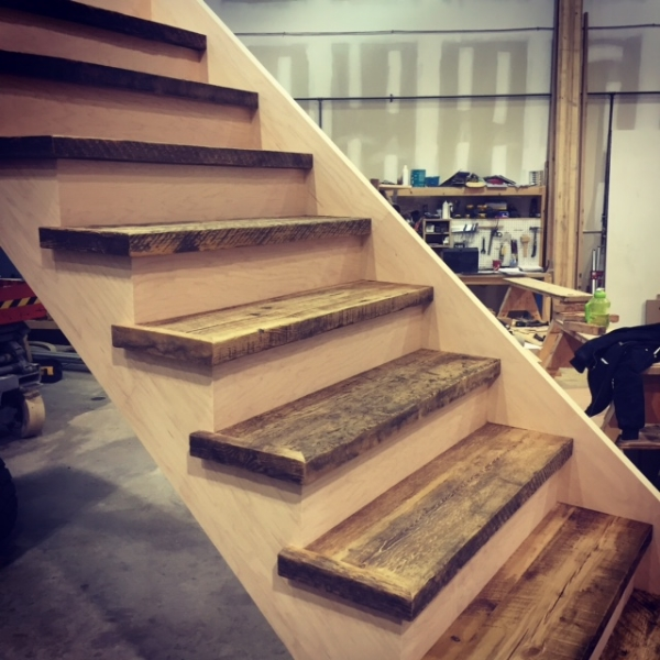 1-3/4 Reclaimed Hemlock treads with paint grade risers & stringers.  Job Location:  Toronto, ON