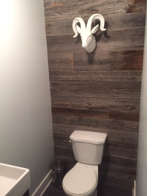 "1"" grey board dressed for a bathroom feature wall.   Job Location: Oro-Medonte, ON (supply & installed by Stairhaus)"