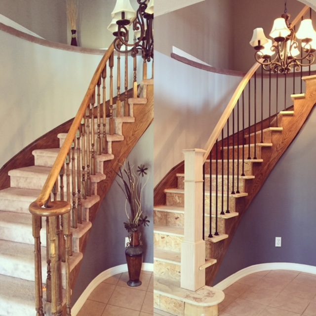 Before & After  Standard oak railing, 4-1/2 square posts with bases & TL12-40 wrinkled black spindles.  Job location: Barrie, ON