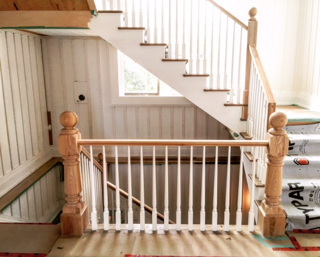 7-1/2 custom turned hickory posts with bases, 4-1/2 intermediate landing posts with ball top only and base, large hickory standard railing with 1-3/4 paint grade dowel top spindles.  Job location: Blue Mountain, ON