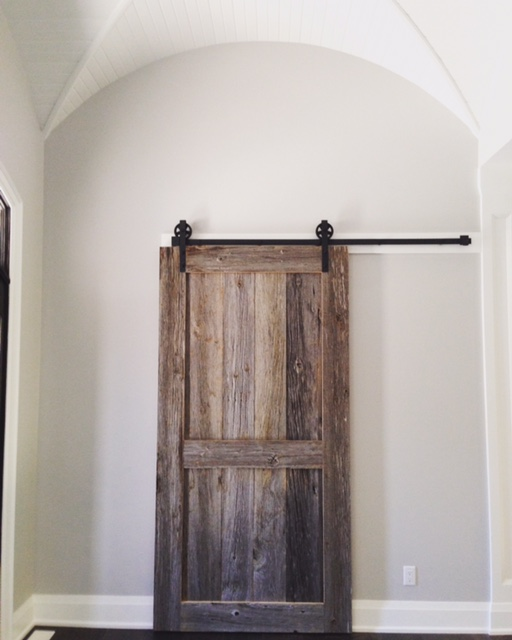 2 panel - square shaker style barn door we built for one of our customers.  Job location: Snow Valley, ON