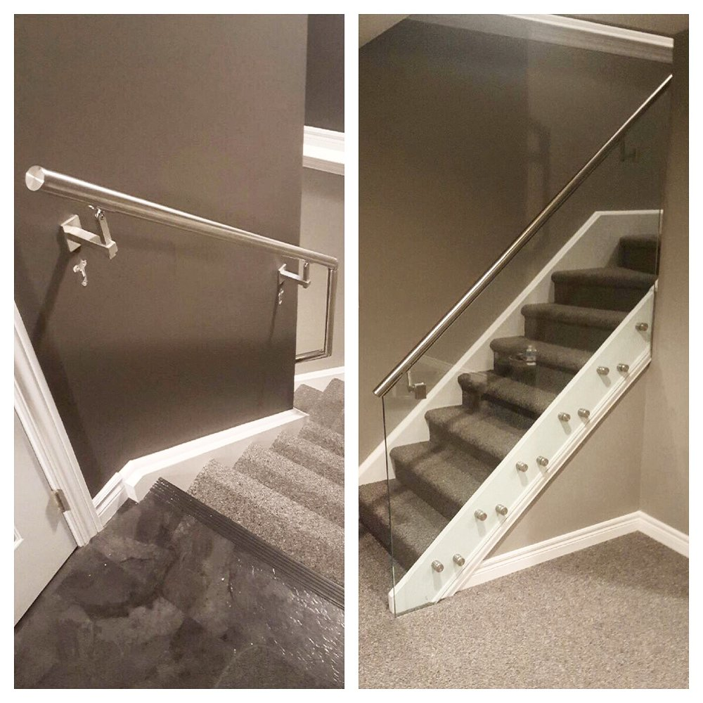 Stainless steel railing with 12mm stainless steel glass stand-offs.  Railing & glass supplied and installed by Stairhaus.  Job location: Horseshoe Valley, ON.