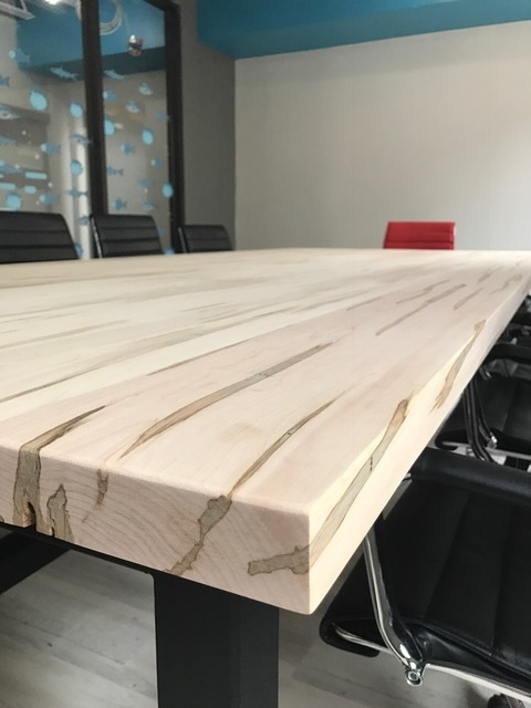 "1-3/4 x 60"" x 132"" Wormy Maple Boardroom Table top  Job location: Barrie, ON"