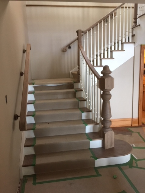 Open 1 side, paint grade stringers & risers - walnut treads.  Job location: Barrie, ON