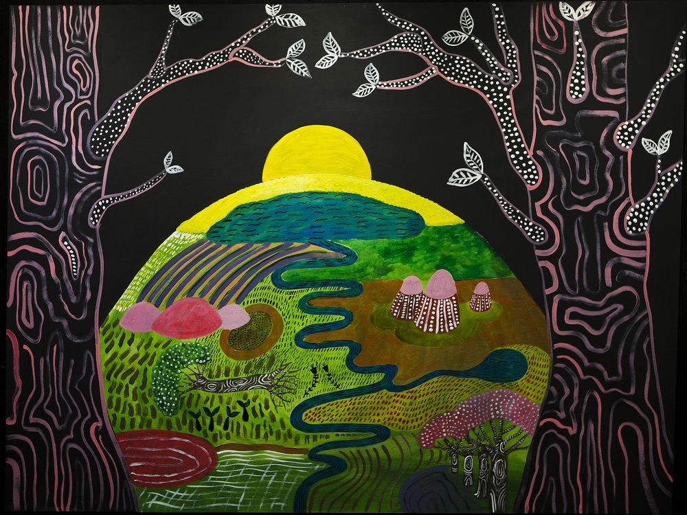 Om Acrylic on panel