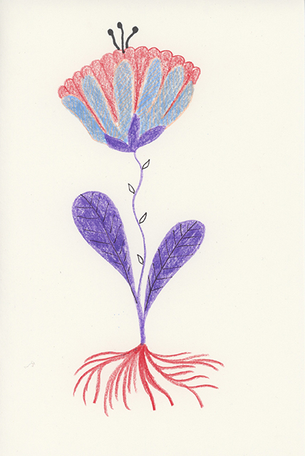 One Flower, colored pencil on paper, 4.5 x 6 in