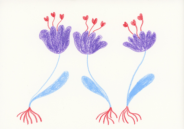 Purple Flowers, colored pencil on paper, 4.5 x 6 in