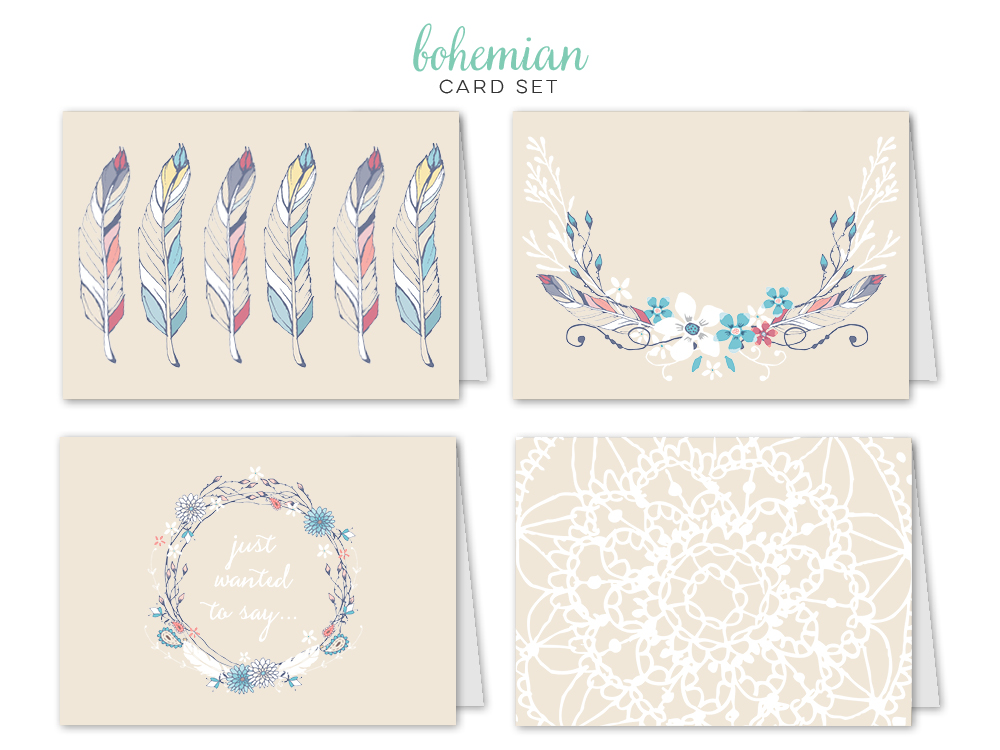 Bohemian_feathers_Card Set_all together.jpg