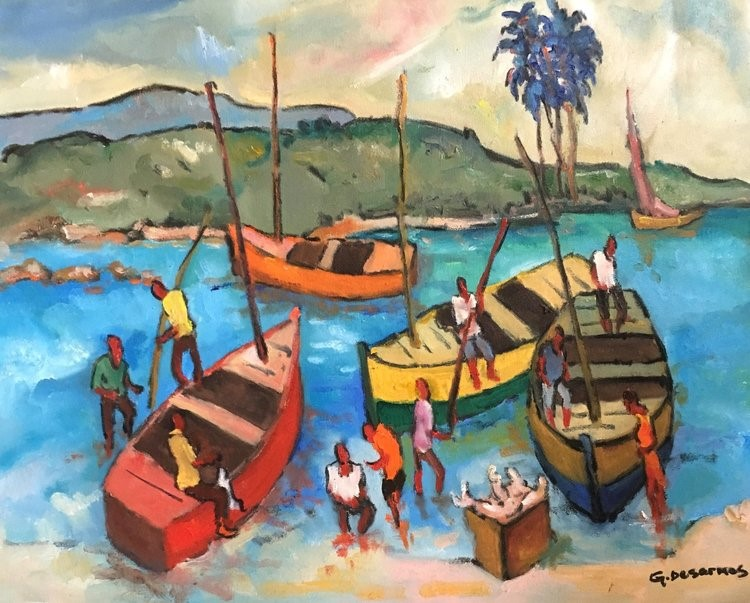 """Ready to Sail"" by Haitian artist George Desarmes. VHP simultaneously promotes Haitian art and culture and fosters sustainable development in Haiti. The art speaks to the resilience, strength, and dignity of the Haitian people."