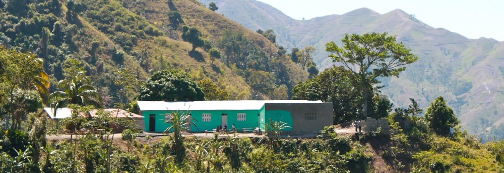 View of the primary school funded by VHP in the mountain village of Chermaitre, Haiti.
