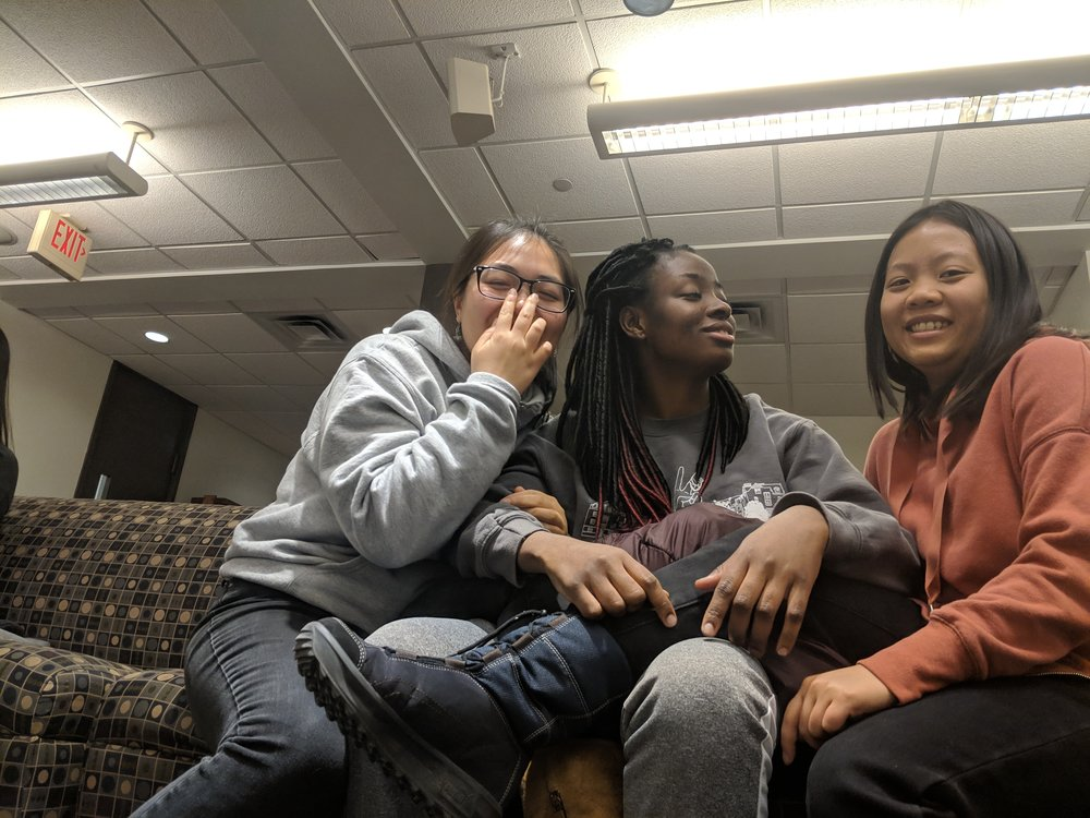Executive Board Members L to R: Connie Zhong '20, Bukola Oloyede '20 and Violet Tan '20