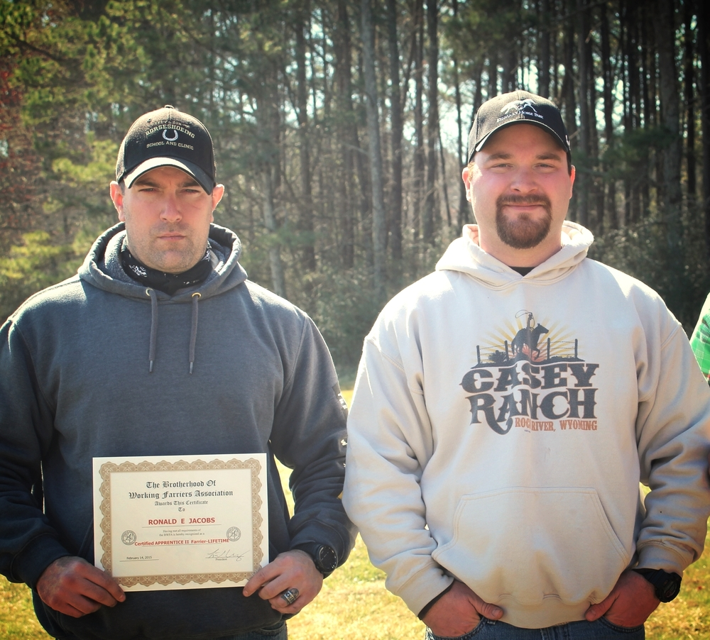 U.S. Marine Corps Veteran, Ron Jacobs receiving his BWFA Certification with Link Casey, BWFA President.