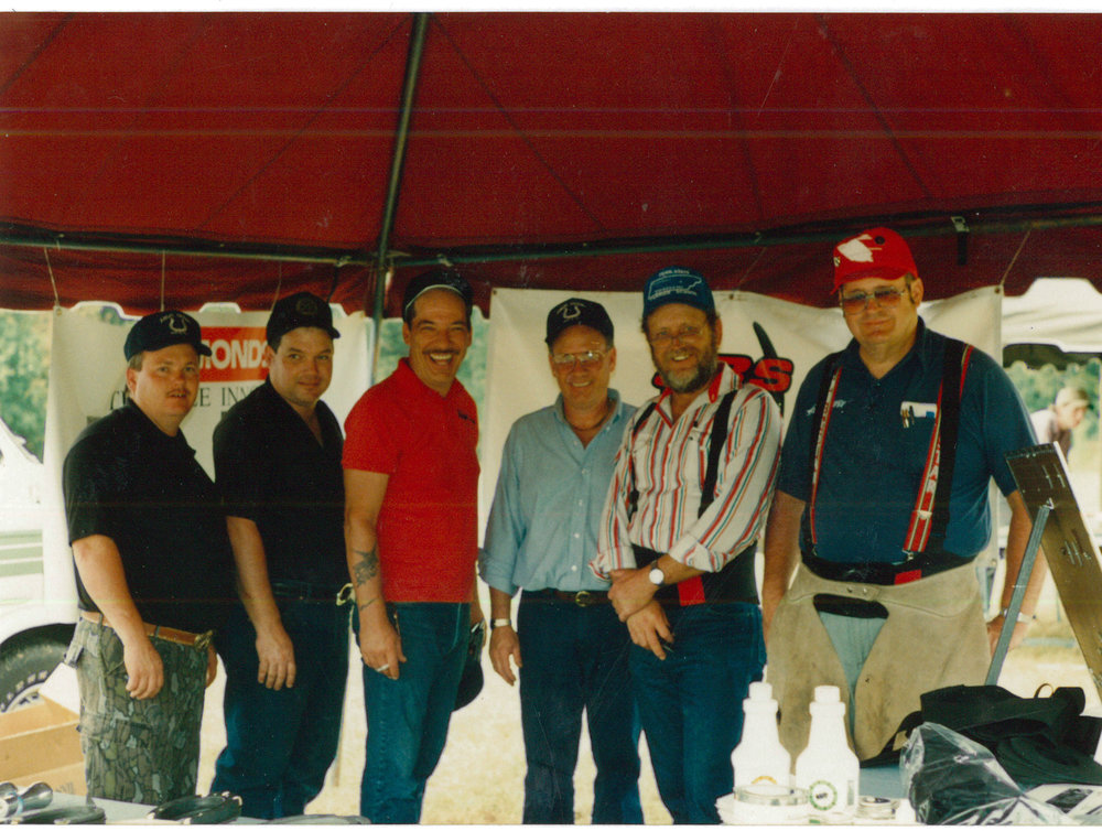 9-9-1992   Grand opening of First Farriers  Research Lab at BWFA hdqtr. in Georgia. (L-R) Farrier friends: Ronney DeBoard, Tom Kennedy, Ralph Casey, John Claudon, Bucky Hatfield, Bob Peacock.