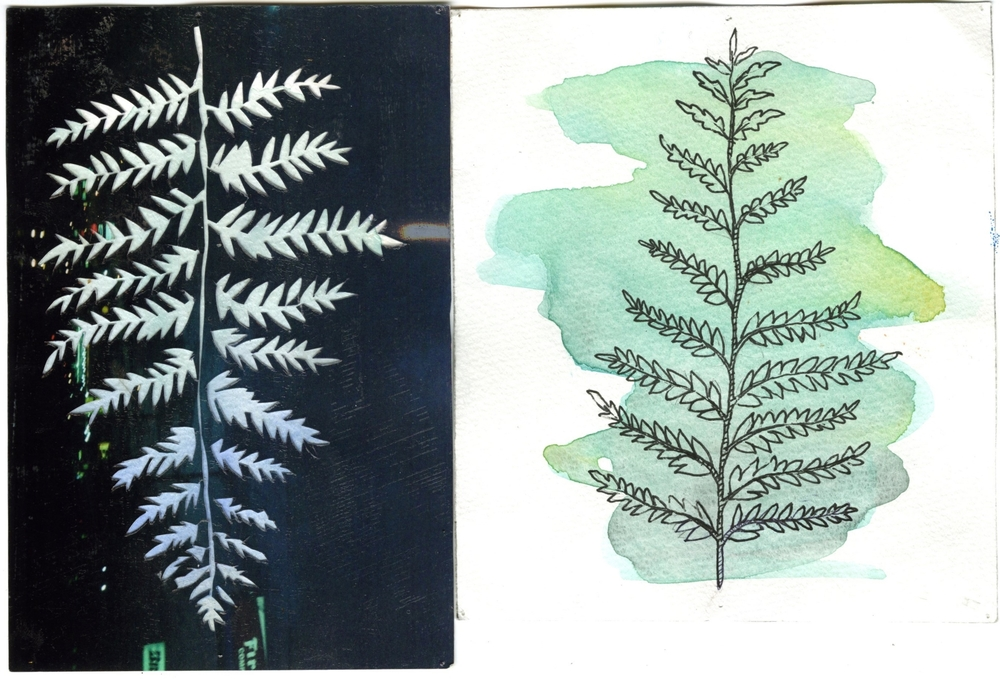 left: collage with photograph on watercolor  right: watercolor and pen on paper